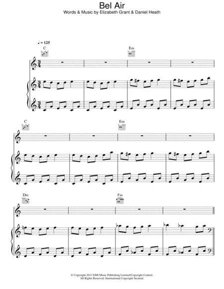 Download Bel Air Sheet Music By Lana Del Rey Sheet Music Plus