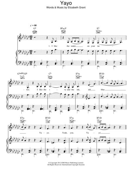 Download Yayo Sheet Music By Lana Del Rey Sheet Music Plus