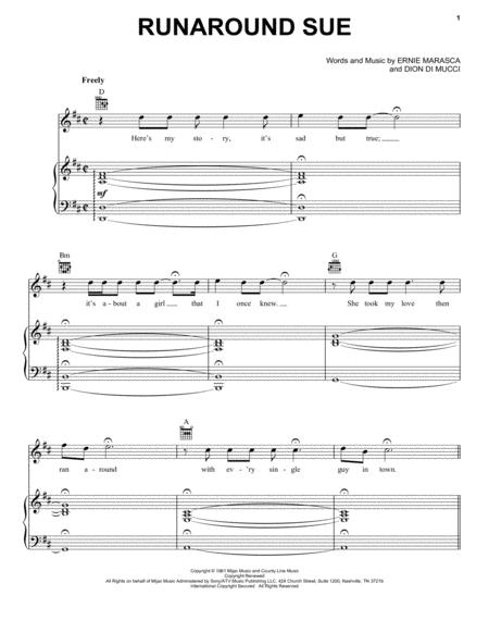 Download Runaround Sue Sheet Music By Dion - Sheet Music Plus