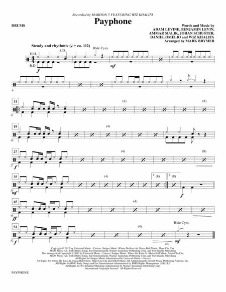 Download Payphone - Drums Sheet Music By Maroon 5 - Sheet Music Plus