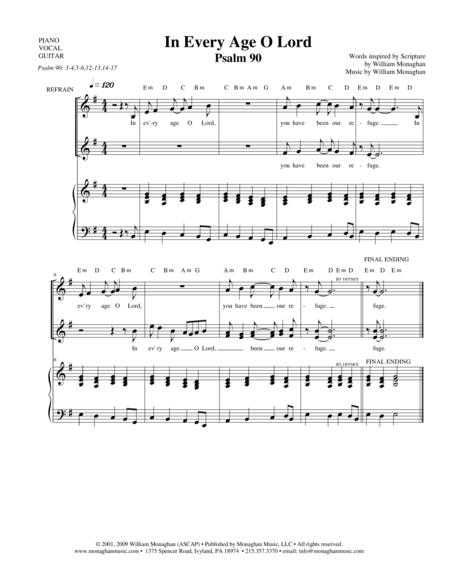 Download In Every Age, O Lord (Psalm 90) Sheet Music By Bill