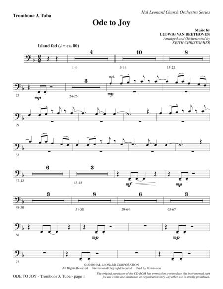 Ode To Joy (Does Not Match SATB 08752035) - Trombone 3/Tuba