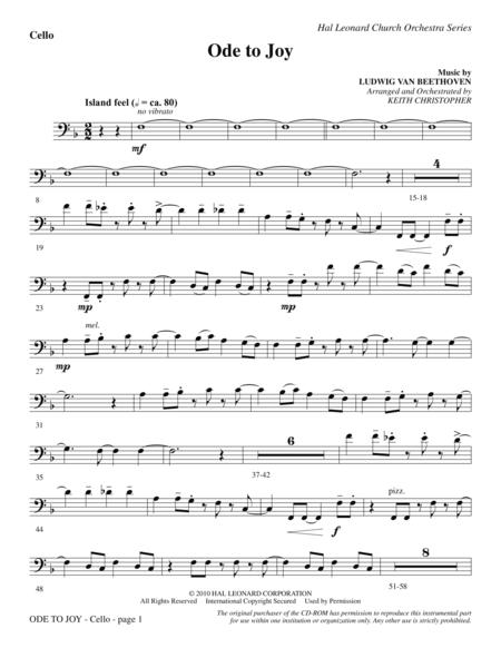 Ode To Joy (Does Not Match SATB 08752035) - Cello