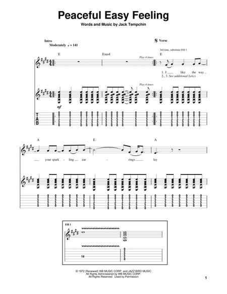 Download Peaceful Easy Feeling Sheet Music By The Eagles - Sheet ...