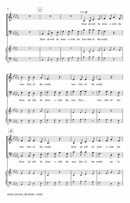 Soon Ah Will Be Done By - Octavo Sheet Music For Choral