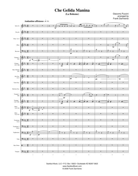 Che Gelida Manina (from La Boheme) - for concert band