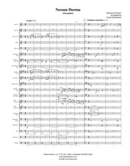Nessun Dorma (from Turandot) - for concert band