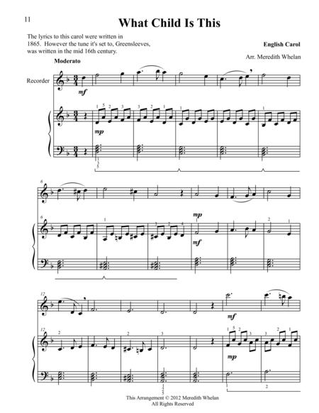 Christmas Duets for Recorder & Piano:  What Child is This (Greensleeves)