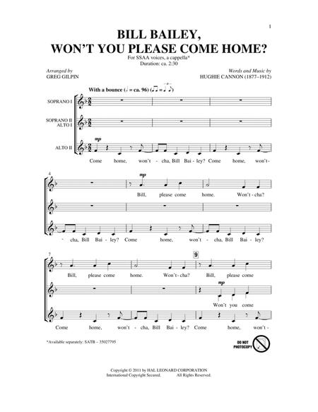 Bill Bailey, Won't You Please Come Home (arr. Greg Gilpin)