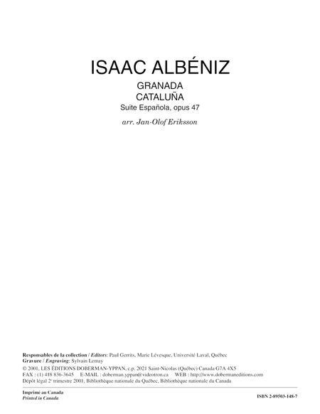 Granada op. 47 no. 1 & Cataluna op. 47 no. 2