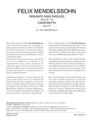 Romances sans paroles op. 19 & Canzonetta op. 12