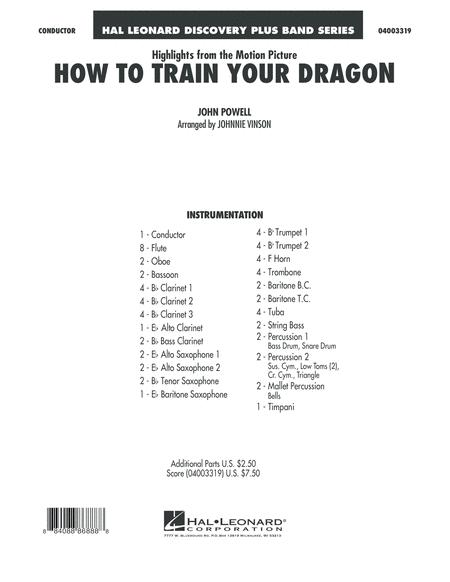 Highlights from How To Train Your Dragon - Conductor Score (Full Score)