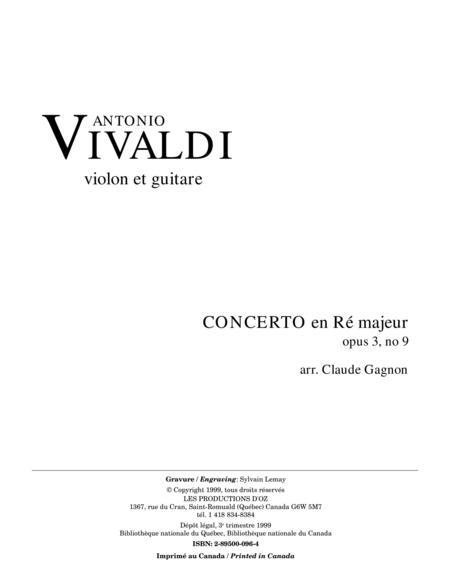 Concerto en Re majeur, opus 3, no 9