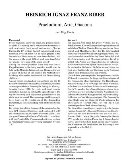 Praeludium, Aria, Giacona