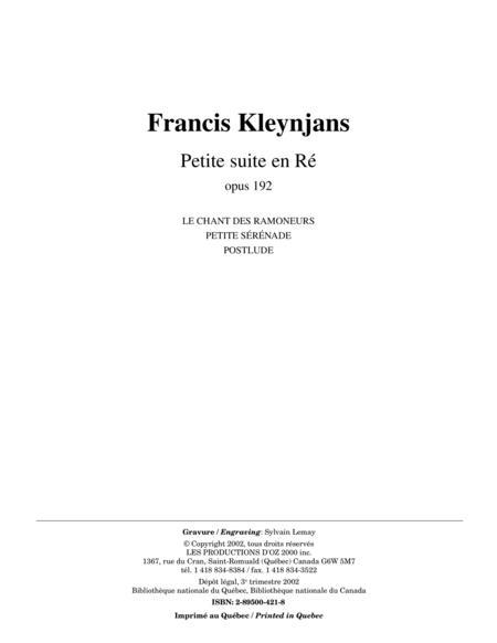 Petite suite en Re, opus 192