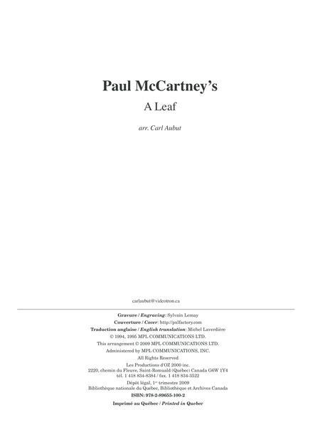 Paul McCartney's - A Leaf