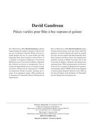 Pieces variees pour flute a bec soprano et guitare