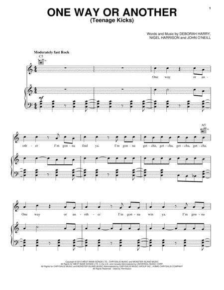 Download One Way Or Another (Teenage Kicks) Sheet Music By One ...