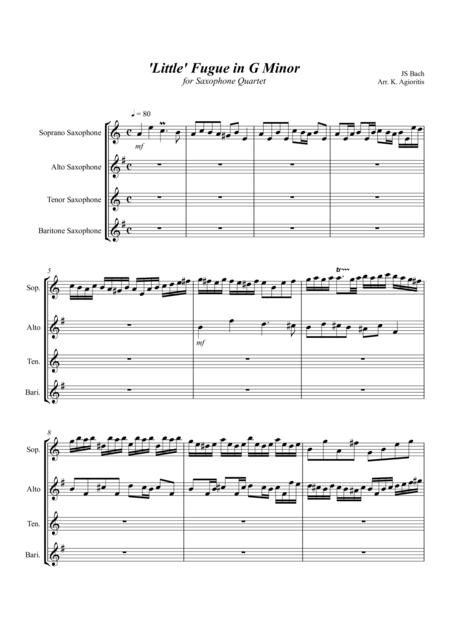 'Little' Fugue in G Minor - For Saxophone Quartet