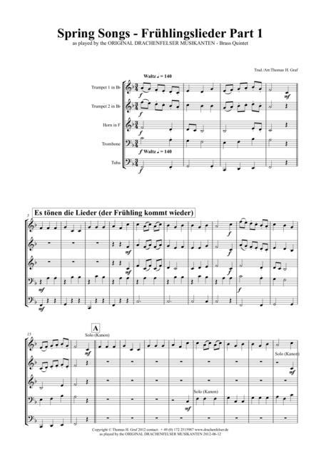 Spring Songs - Frühlingslieder - Part 1 - German Folk Songs - Brass Quintet