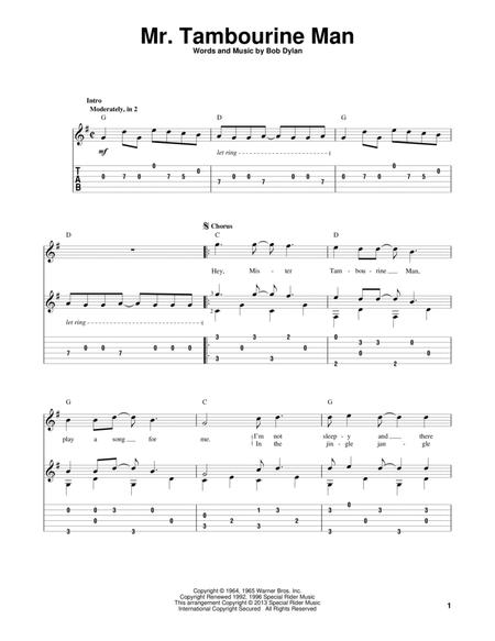 Download Mr. Tambourine Man Sheet Music By Bob Dylan - Sheet Music Plus