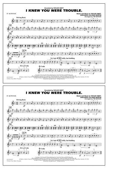 I Knew You Were Trouble - Eb Alto Sax