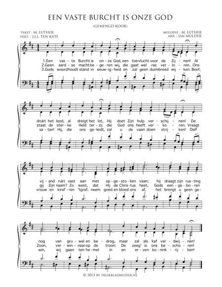 Een Vaste Burcht Is Onze God - Mixed Choir And Piano Or Organ