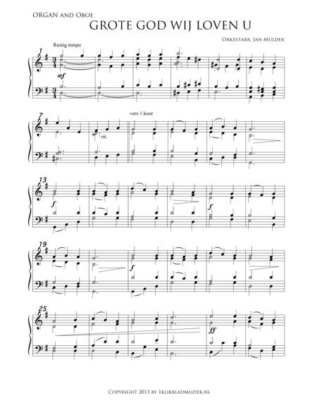 Grote God, Wij Loven U - Organ (Accompaniment For Mixed Choir)