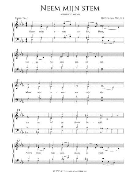 Neem Mijn Stem - Mixed Choir And Piano Or Organ