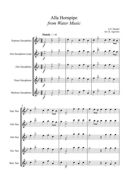 Alla Hornpipe from Handel's Water Music - for Saxophone Quartet