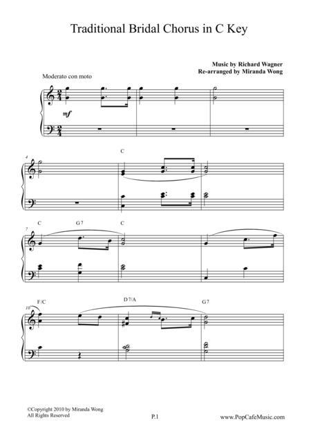 Download Bridal Chorus ( Contemporary Edition ) In C Key Sheet Music ...