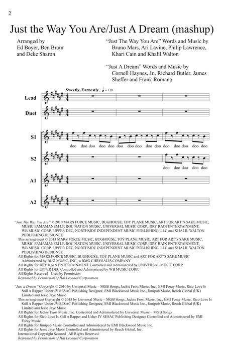 Just The Way You Are/Just A Dream (Mashup) (from Pitch Perfect) (arr. Deke Sharon)