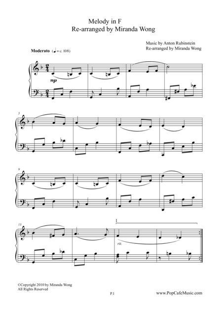 Romantic Melody in F for Piano Solo