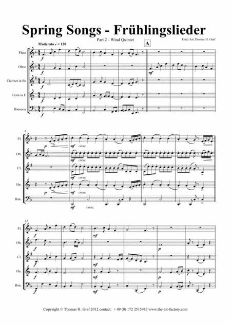 Spring Songs - Frühlingslieder - Part 2 - German Folk Songs - Wind Quintet