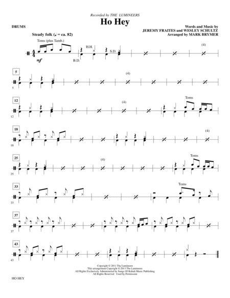 Download Ho Hey - Drums Sheet Music By The Lumineers - Sheet Music Plus