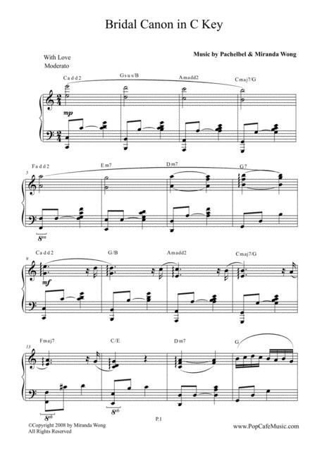Bridal Canon in Bb - Wedding Piano Music in C Key