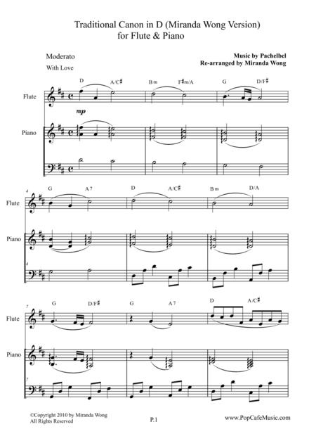 Traditional Canon in D for Flute & Piano