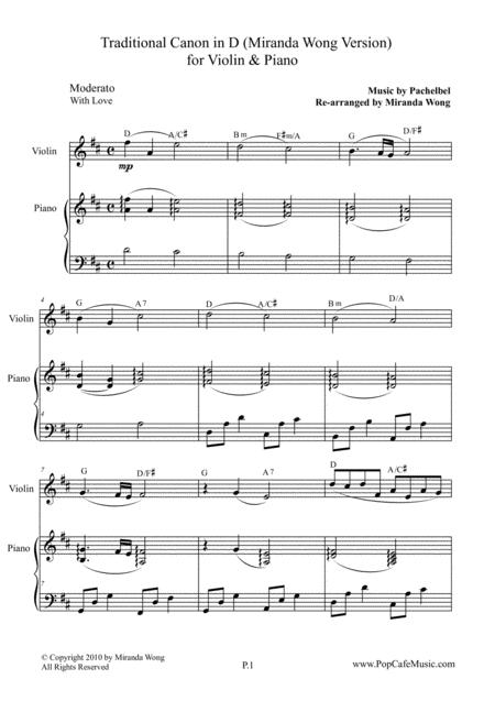 Download Traditional Canon In D For Violin Piano Sheet Music By