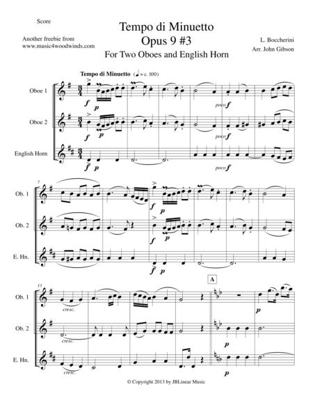 Minuet for Oboe and English Horn Trio