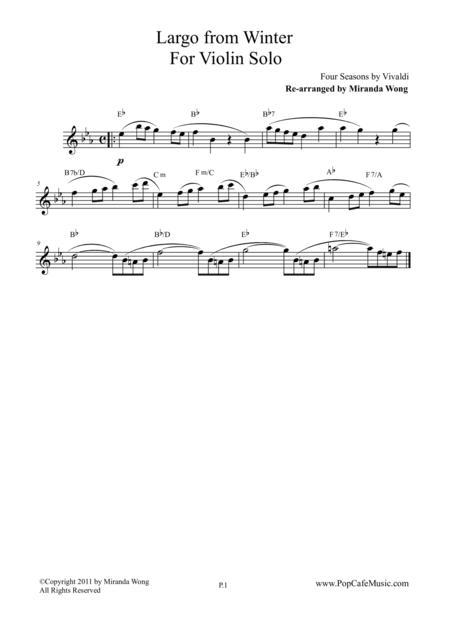 Largo from Winter (Four Seasons) - Lead Sheet for Violin / Flute Solo