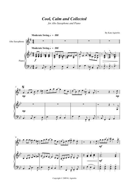 Cool, Calm and Collected - for Alto Saxophone and Piano