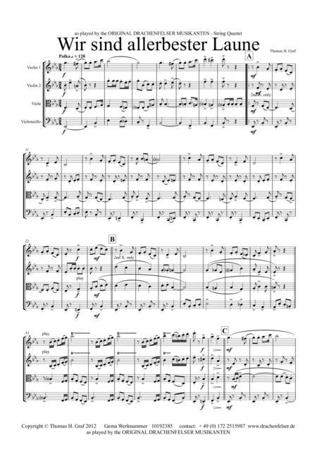 Wir sind allerbester Laune (String Quartet)