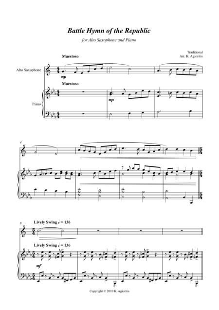 Battle Hymn of the Republic - a Jazz Arrangement - for Alto Saxophone and Piano