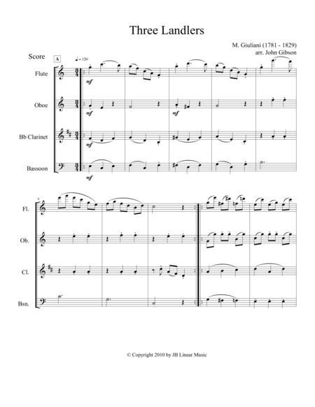 Three Landlers for Woodwind Quartet