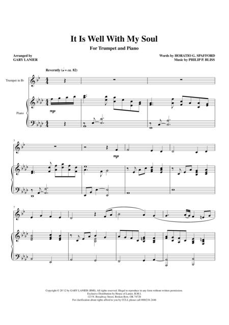 IT IS WELL WITH MY SOUL (Duet - Bb Trumpet and Piano with Trumpet Part)