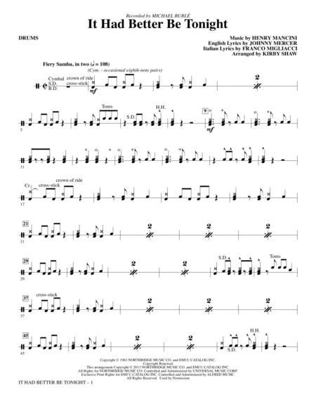 Download It Had Better Be Tonight - Drums Sheet Music By