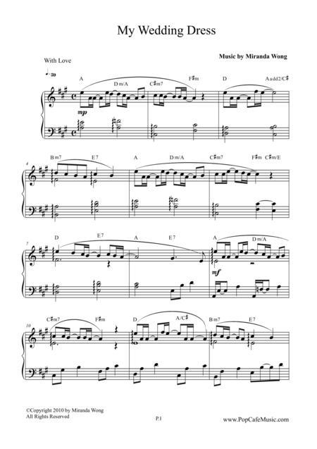 Download My Wedding Dress - Wedding Piano Music Sheet Music By ...