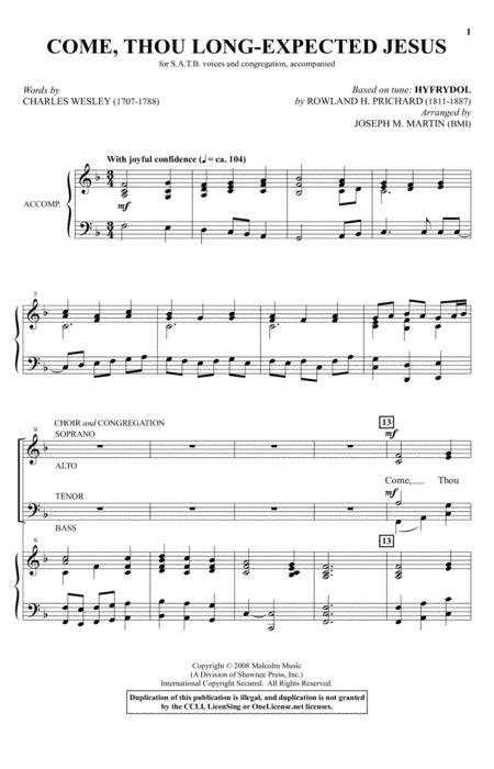 Come, Thou Long-Expected Jesus (from Carols For Choir And Congregation)