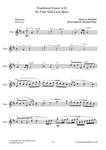 Traditional Canon in D - Flute Solo / Lead Sheet