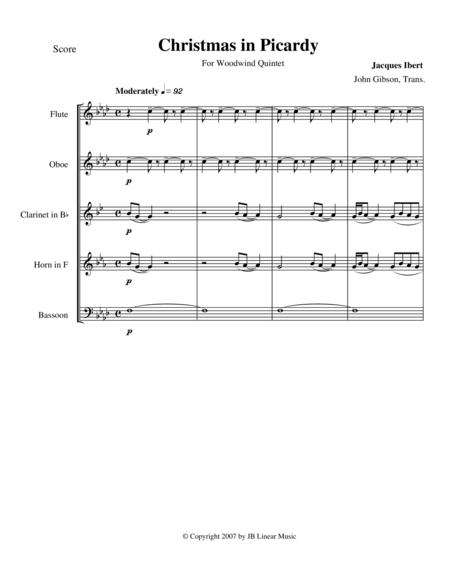Ibert - Christmas in Picardy for woodwind quintet